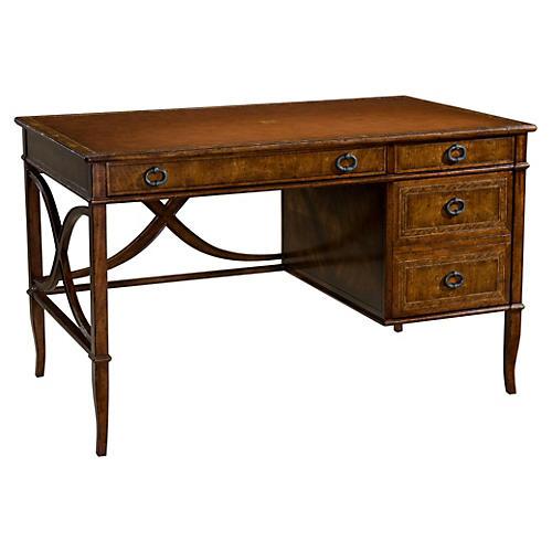 """L'écriture 49"""" Leather-Top Desk, Brown"""