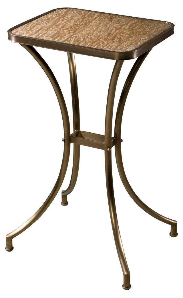 """Tamo 16"""" Side Table, Brass/Beige"""