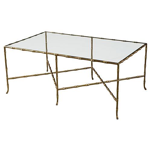 "Samui 47"" Bamboo Coffee Table, Brass"