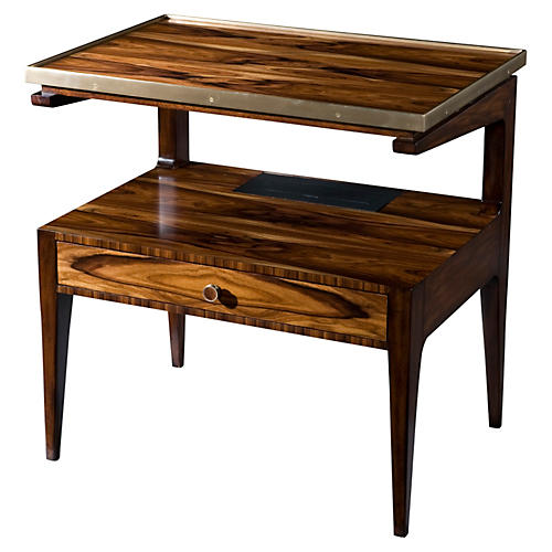 Smart Charging Side Table, Mahogany