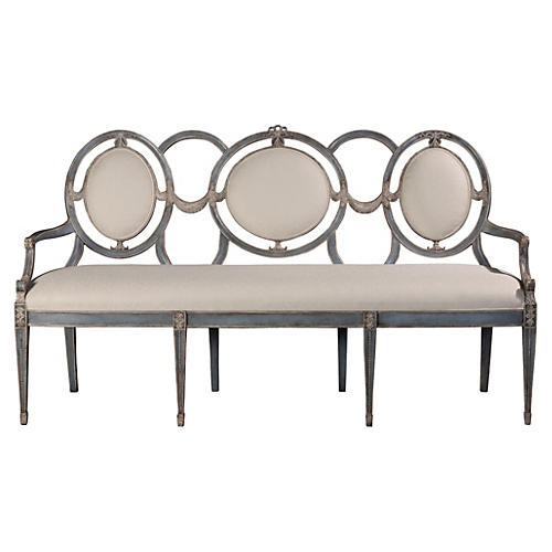 """Audience 69"""" Settee, White/Gray"""