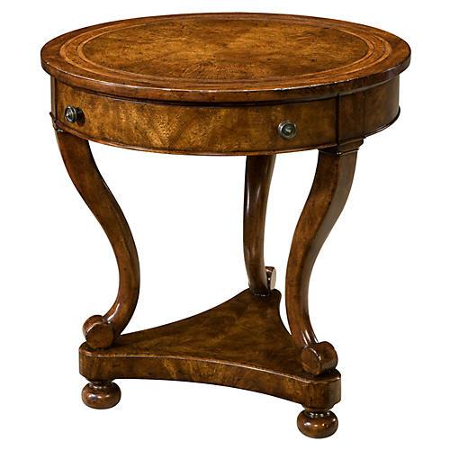 Italian Round Nightstand, Burled Wood