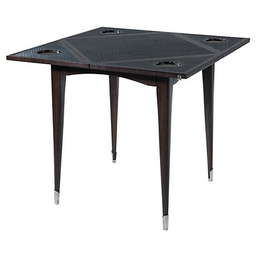 "4-Fold 34"" Leather Game Table, Charcoal"