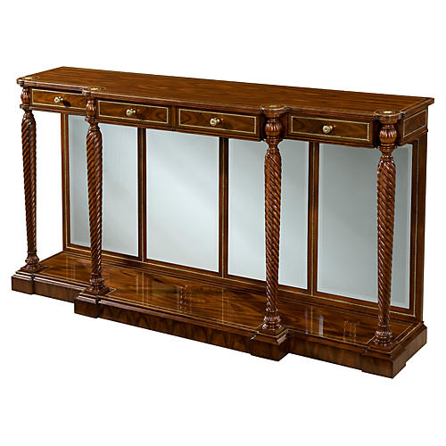 "Austens 66"" Mirrored Console, Brown"