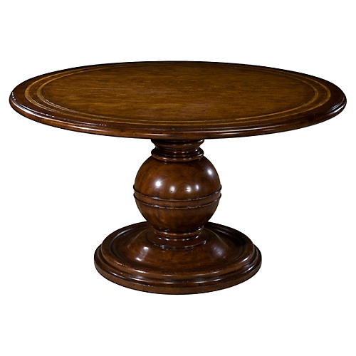 "Diderot II 54"" Round Dining Table, Brown"