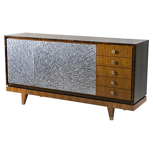 "Ray 72"" Etched Brass Sideboard, Brown"