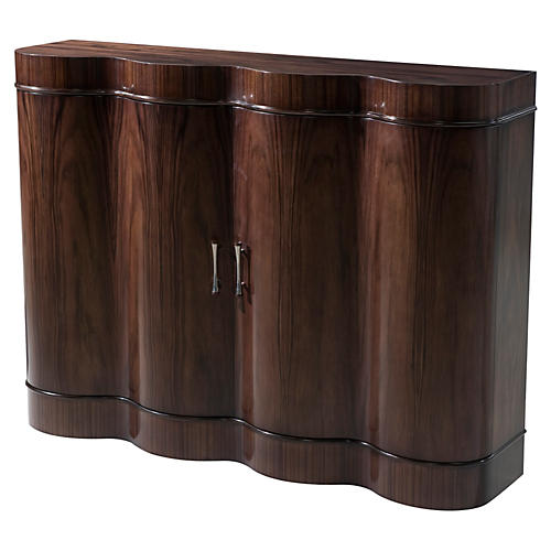 "Billow 48"" Curved Side Cabinet, Brown"