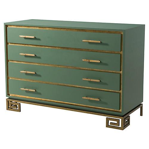Fascinate Greek Key Dresser, Green/Gold