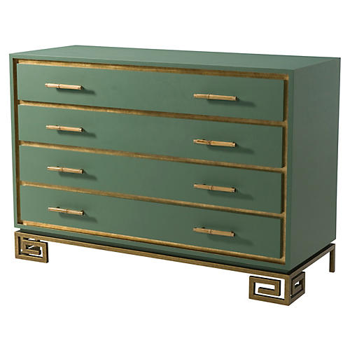 Fascinate Greek Key Dresser, Green/Gold