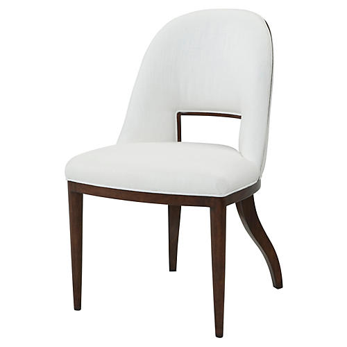 Decano Side Chair, White Linen