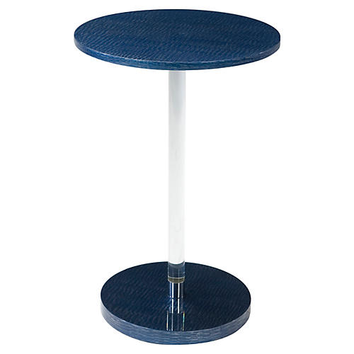 Striate Round Side Table, Blue