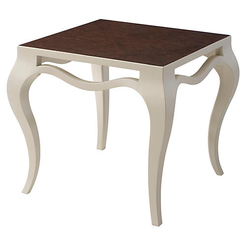 Meander Accent Side Table, Ivory