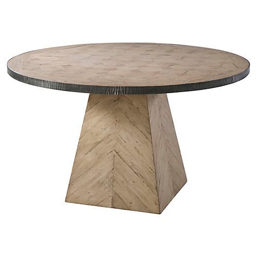 """Round 52"""" Chevron Dining Table, Natural"""
