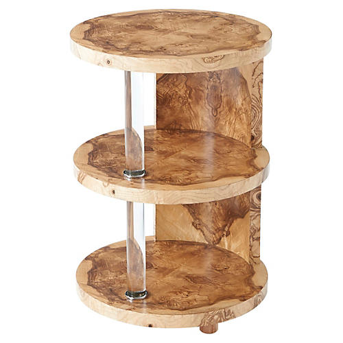 Terrace Tiered Side Table, Burl