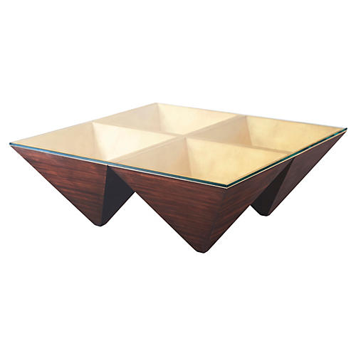 Pyramid Points Coffee Table, Rustic Java