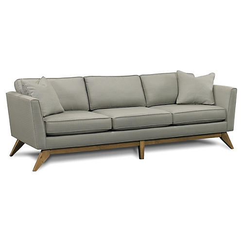 """Paxton 92"""" Retro Sofa, Pewter"""