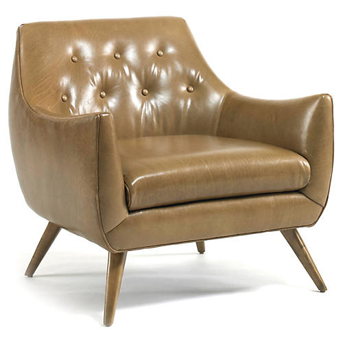 Marley Tufted Chair, Camel Leather