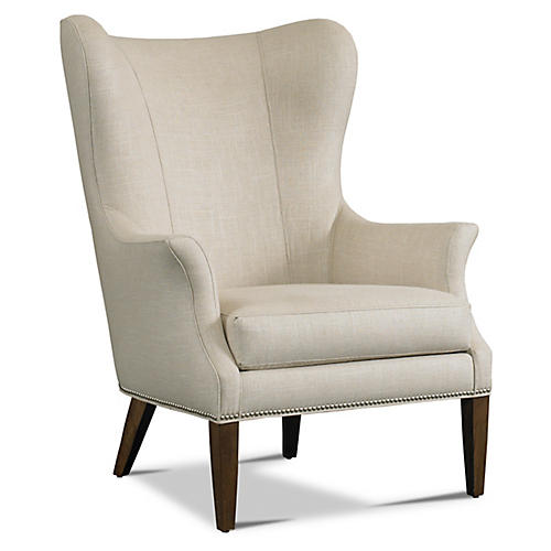 Tristen Wingback Chair, Linen