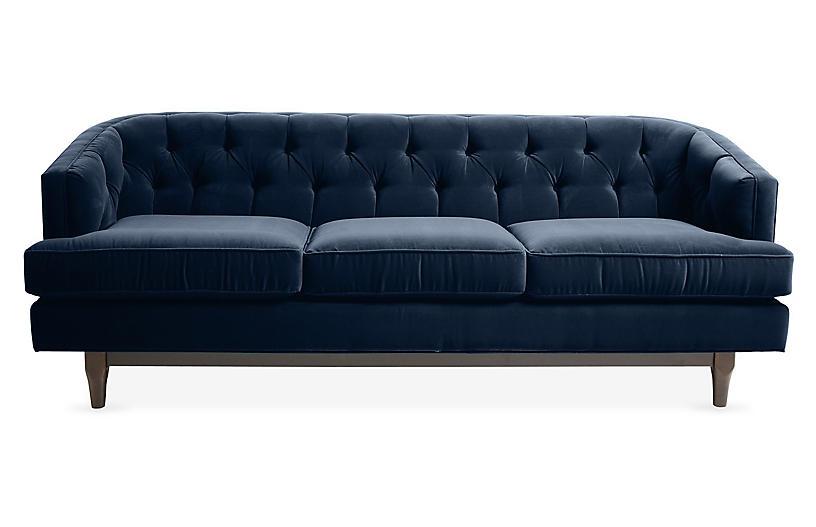 Emma Tufted Sofa, Indigo Velvet