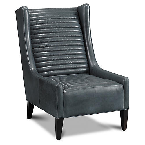 Grant Wingback Chair, Charcoal Leather