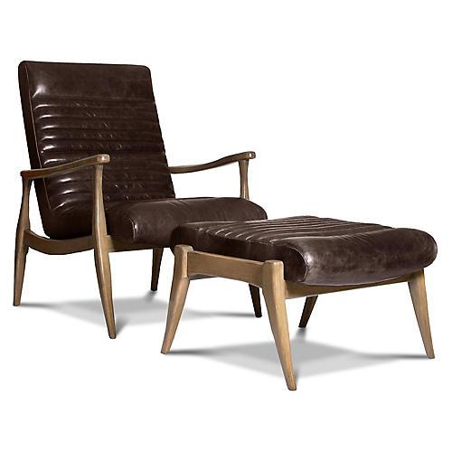 Erik Accent Chair & Ottoman Set, Espresso