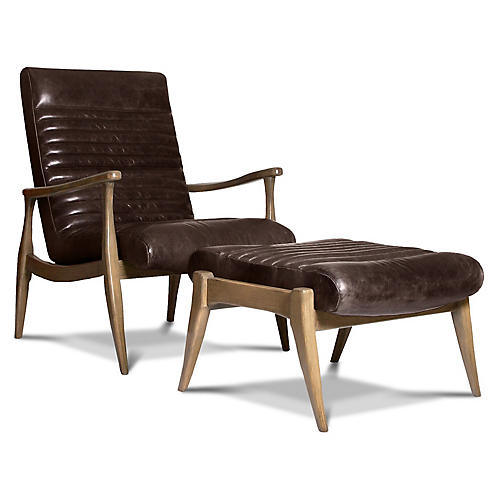 Erik Accent Chair & Ottoman Set, Espresso