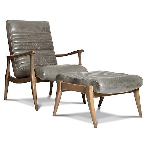 Erik Accent Chair & Ottoman Set, Gray