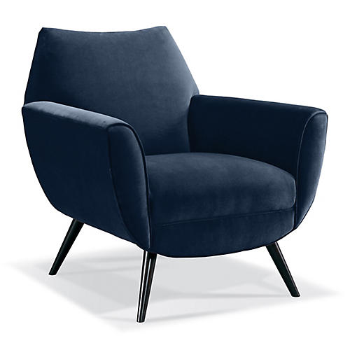 Finnegan Accent Chair, Indigo Velvet