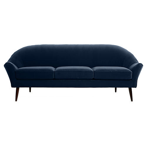 Blair Modern Sofa, Indigo Velvet