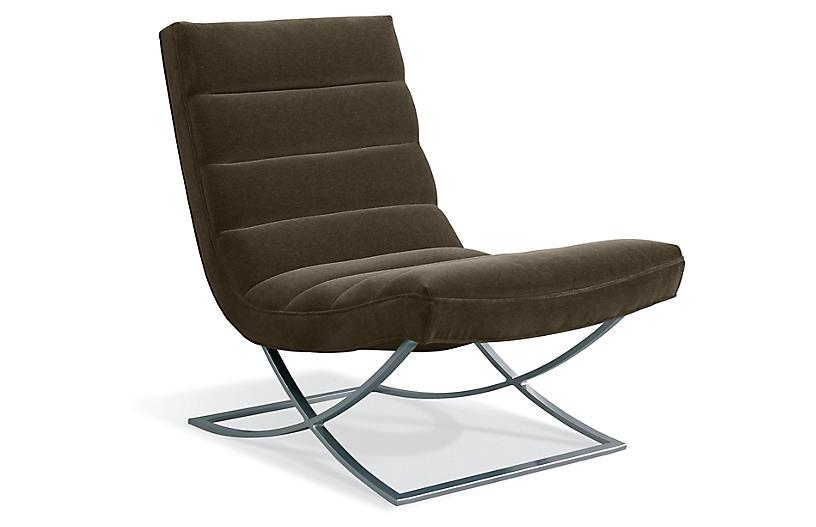Felix Accent Chair, Charcoal Velvet