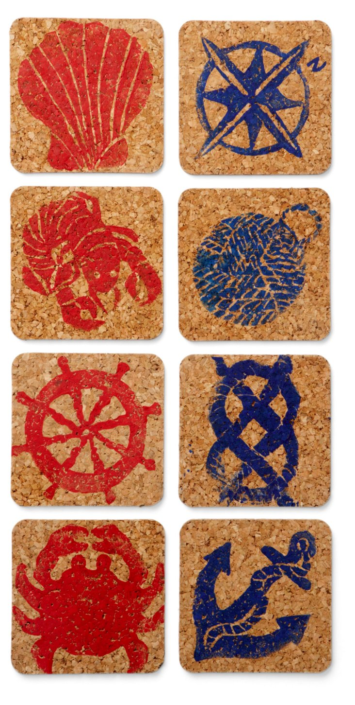 S/8 Assorted Sea Coasters, Red/Navy
