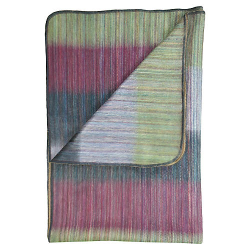 Patchwork Alpaca Throw, Green
