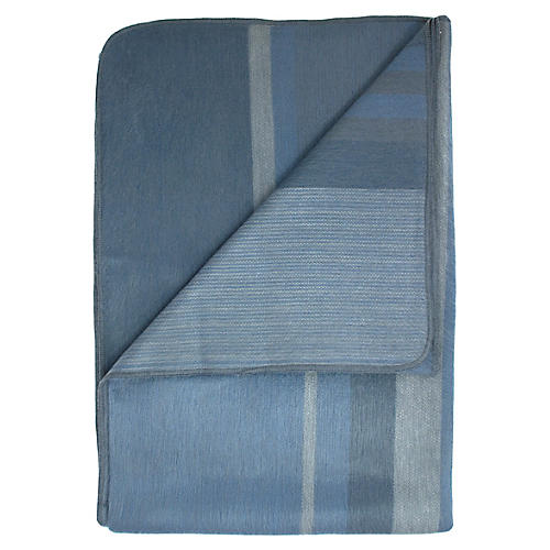 Granite Alpaca Throw, Blue