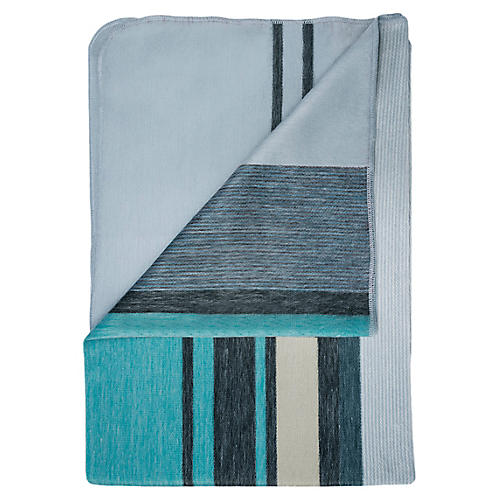 Modern Azul Alpaca Throw, Teal