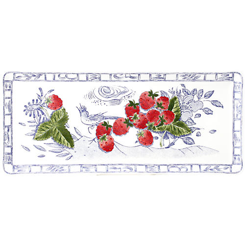 Oiseau Oblong Serving Tray, White/Multi