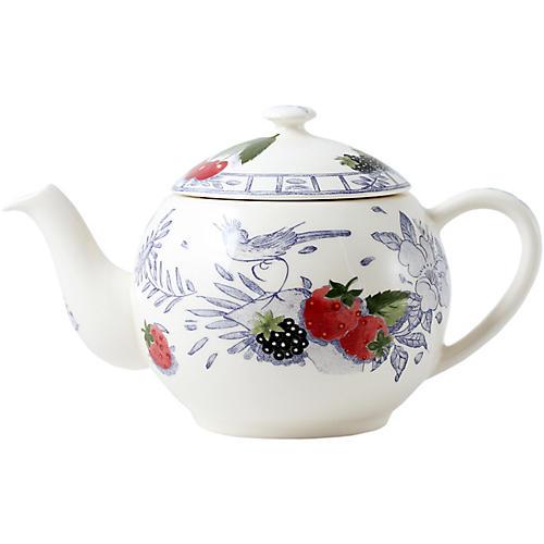 Oiseau Teapot, White/Multi