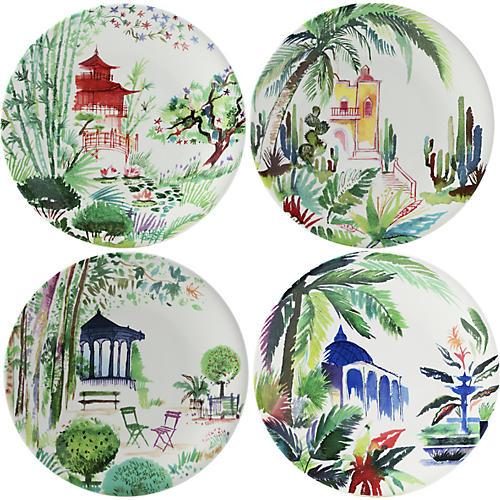 S/4 Jardins Dessert Plates, White/Multi