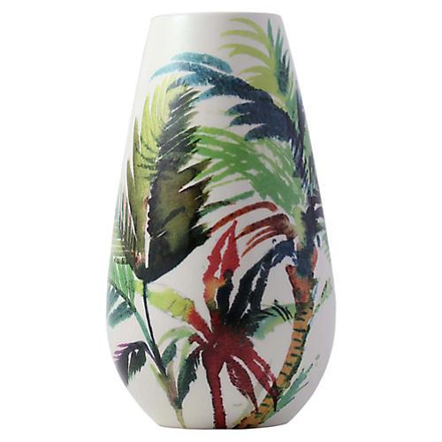 """10"""" Jardins Vase, White/Multi"""