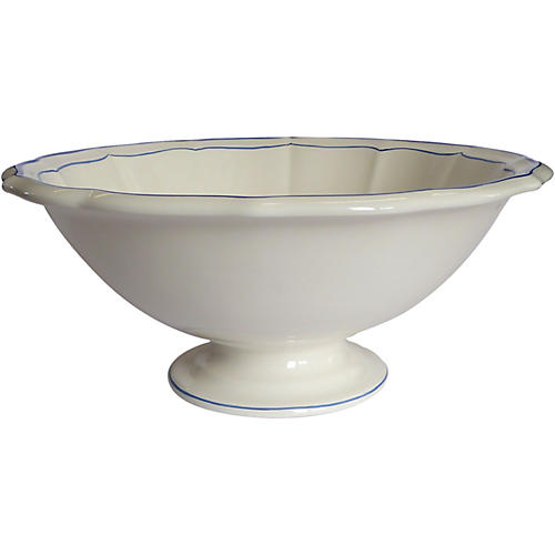 Fliet Bleu Footed Serving Bowl, White/Blue