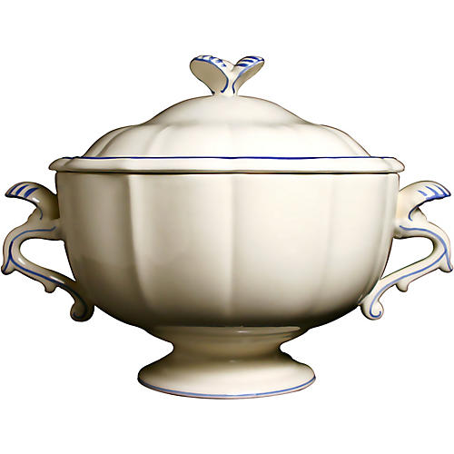 Fliet Bleu Soup Tureen, White/Blue