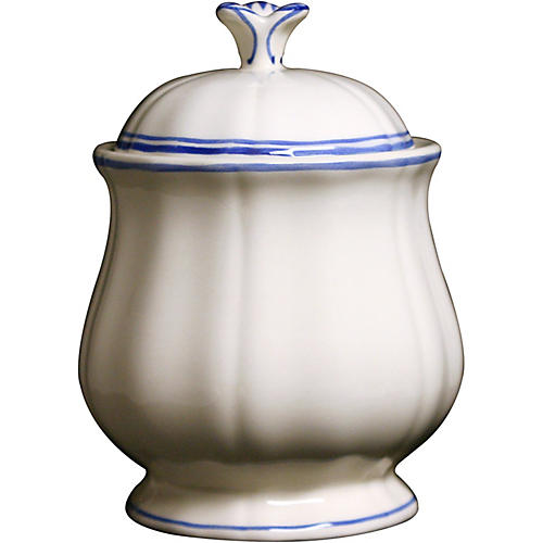 Fliet Bleu Sugar Bowl, White/Blue