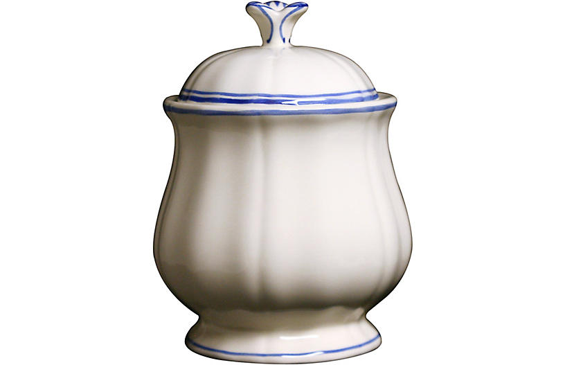 Fliet Bleu Sugar Bowl, White/Blue