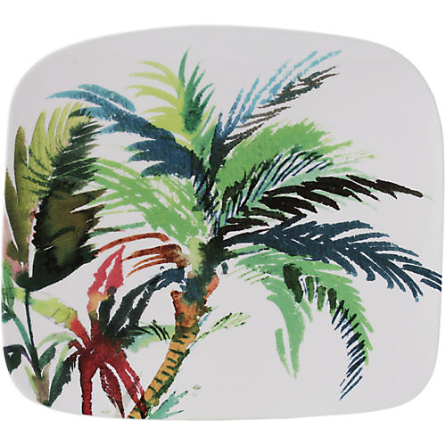 Jardins Square-Palm Serving Plate, White/Multi