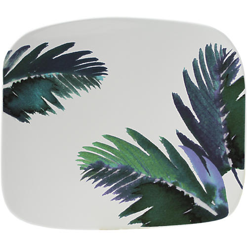 Jardins Square Serving Plate, White/Blue