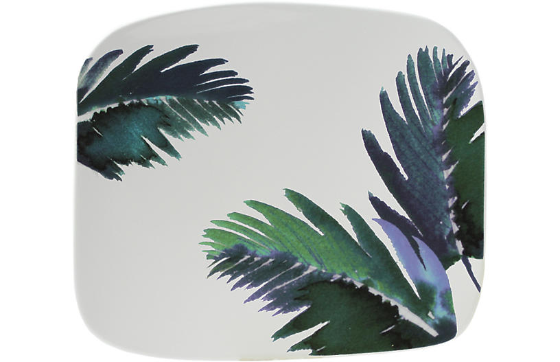 Jardins Square Serving Plate, White/Blue