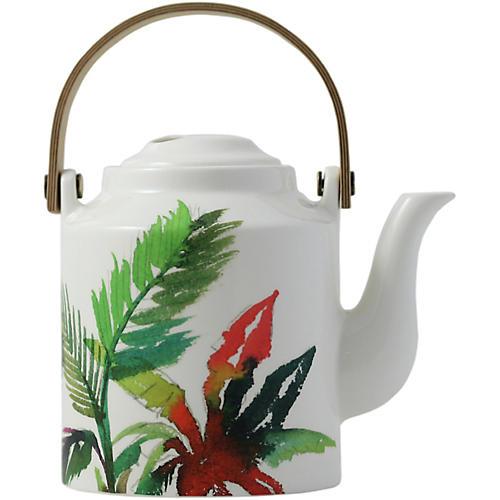 Jardins Teapot, White/Multi