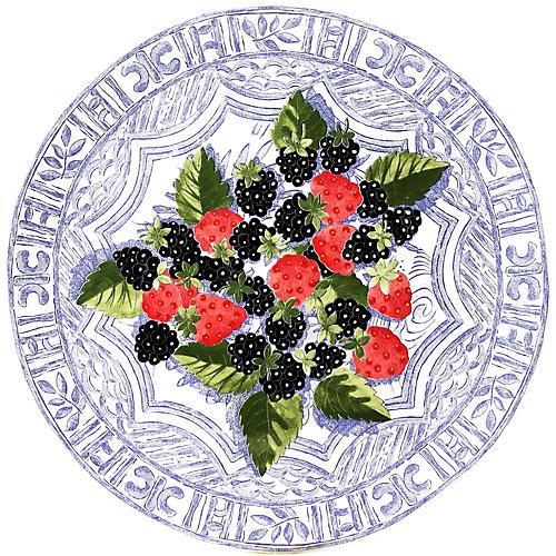 Oiseau Cake Platter, Blue/Multi
