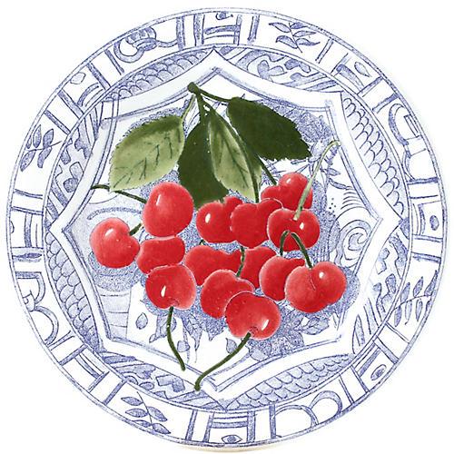 Oiseau Cherry Dessert Plate, Blue/White