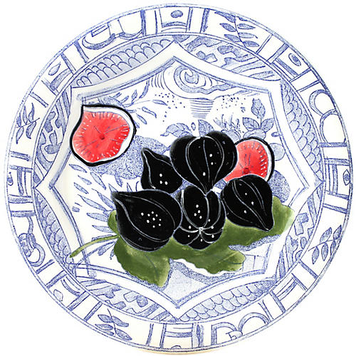 Oiseau Fig Dessert Plate, Blue/White