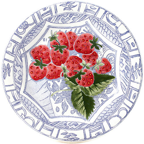 Oiseau Strawberry Dessert Plate, Blue/White